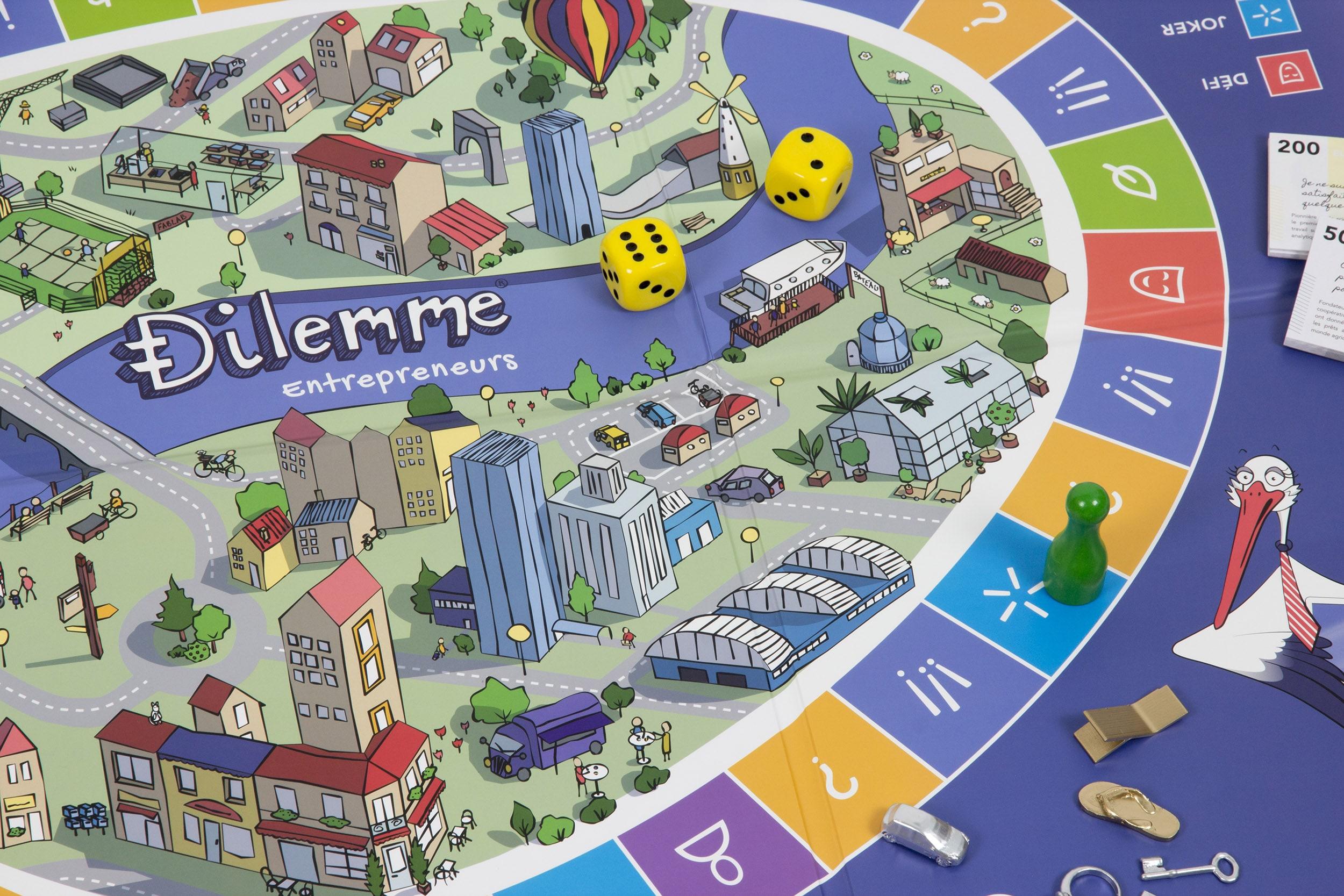 Gros plan sur le plateau du jeu de société Dilemme, avec zoom sur les illustrations, les pions, les dés
