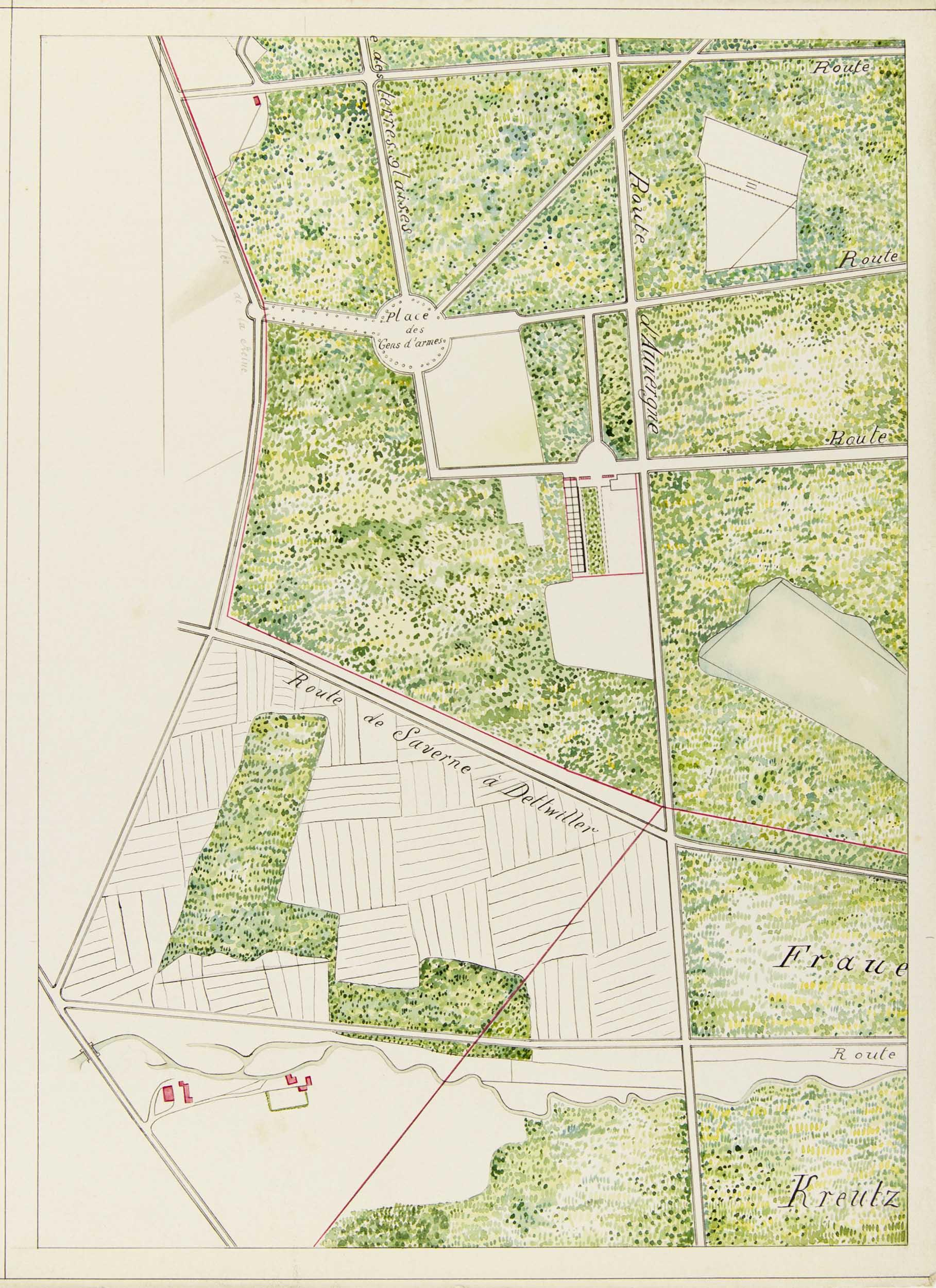Numérisation de l'un des feuillets du plan de Saverne exécuté à la gouache et au crayon graphite en 1797 par le géomètre Casimir Kolb.
