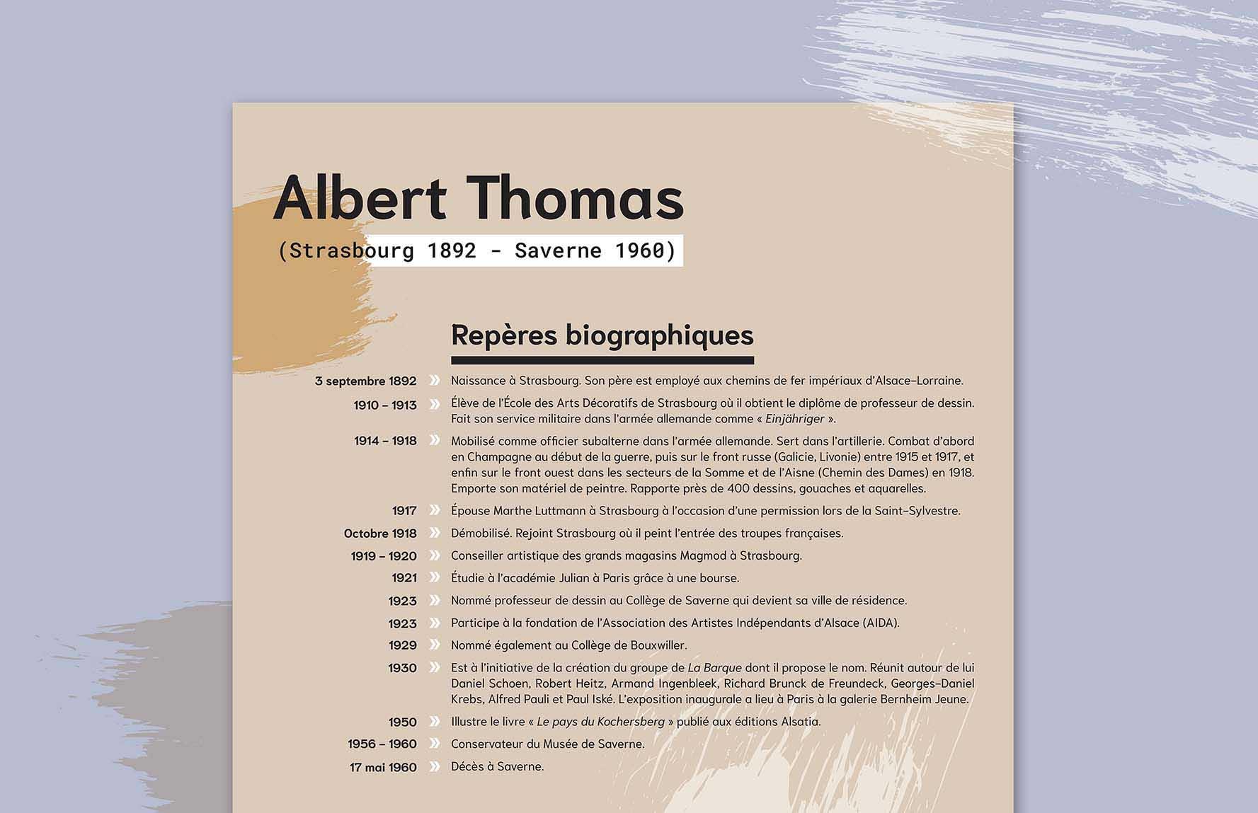 Panneau graphique de l'exposition consacrée au peintre Albert Thomas